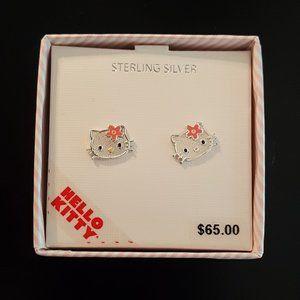 Hello Kitty Sterling Silver Girls Earrings NWT